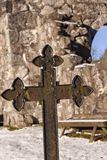 Rya chapel grave marker. Vintage grave marker by chapel ruin, Rya, Sweden Royalty Free Stock Photos
