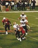 Ryan Łagodny dostaje grabijącym, XFL futbol (2001) Zdjęcie Royalty Free