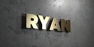 Ryan - Gold sign mounted on glossy marble wall  - 3D rendered royalty free stock illustration Royalty Free Stock Photo