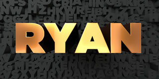Ryan - Gold text on black background - 3D rendered royalty free stock picture Royalty Free Stock Photo