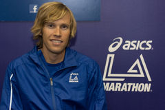 Ryan Hall , american marathon runner attends a press conference Stock Photography