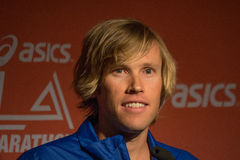 Ryan Hall , american marathon runner attends a press conference Royalty Free Stock Photo