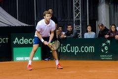 Ryan Harrison som spelar i matchen mot SERBIEN, Davis Cup 2018, Nis, Arkivfoton