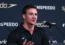 Ryan Lochte. NEW YORK-DEC 15: American Olympic swimmer, Ryan Lochte speaks during the New York launch of Team Speedo and Speedo's Fastskin LZR Racer X at SIR Royalty Free Stock Photo