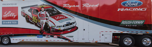 Ryan Reed NASCAR Hauler. NASCAR race car hauler for Rousch Fenway driver Ryan Reed Royalty Free Stock Images