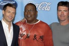 Ryan Seacrest, Randy Jackson e Simon Cowell Foto de Stock
