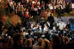 Ryan-und Romney Sitzung mit der Masse Stockbilder