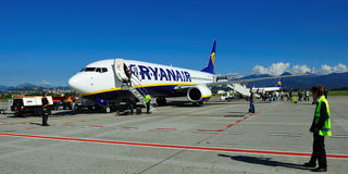 Ryanair. Airplane from Ryanair on airport Milano (Bergamo Stock Photos