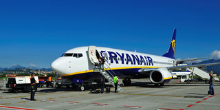 Ryanair. Airplane from Ryanair on airport Milan (Bergamo Royalty Free Stock Image