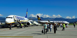 Ryanair. Airplane from Ryan air on airport Milan (Bergamo Royalty Free Stock Photography
