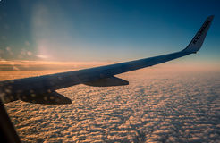 Ryanair above the clouds Royalty Free Stock Images