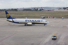 Ryanair Aircraft Going to the Gate Stock Image
