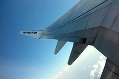 Ryanair Aircraft - wing Royalty Free Stock Photo