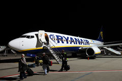 Ryanair airplane at the airport Stock Photos