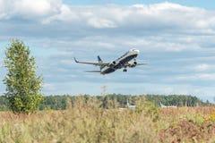 Ryanair airplane Boeing 737-8AS EI-DJL. KAUNAS, LITHUANIA - JULY 15, 2017: Ryanair airplane Boeing 737-8AS EI-DJL take off from runway in Kaunas International Royalty Free Stock Photos