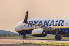 Ryanair airplane on ground at dortmund 21 airport germany royalty free stock image