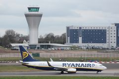 Ryanair. BIRMINGHAM, UK - APRIL 24, 2013: Pilots taxi Ryanair Boeing 737 at Birmingham Airport, UK. Ryanair carried 81.4 million passengers in 2013 Stock Image