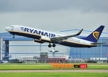 Ryanair boeing 737. Taking off from Manchester airport royalty free stock images