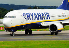 Ryanair Boeing 737. Taxiing at Manchester Airport stock images