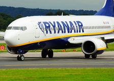 Ryanair Boeing 737 Commercial Airliner. Ryanair Boeing 737 taxiing at Manchester Airport stock images