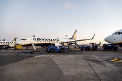 Ryanair Boeing 737-800 airplane in Dublin Airport Stock Image