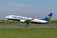 Ryanair Boeing 737 departing Manchester airport. MANCHESTER, UNITED KINGDOM - MAY 07, 2018: Ryanair Boeing 737 departing Manchester airport royalty free stock photos