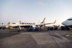 Ryanair Boeing 737-800 flygplan i Dublin Airport Fotografering för Bildbyråer
