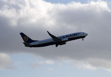 Ryanair Boeing 737. Manchester, United Kingdom - February 16, 2014: Ryanair Boeing 737 taking off from Manchester International Airport Royalty Free Stock Photography