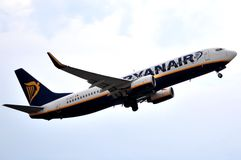 Ryanair boeing 737-800 model airlines take elevation maniobre in alicante airport over a blue sky background Stock Photo