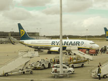 RyanAir Boeing 737-800 parked in Stansted Royalty Free Stock Photo
