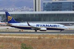 Ryanair Boeing taxiing. Ryanair Boeing 737-800 taxiing at Malaga airport (Spain royalty free stock image