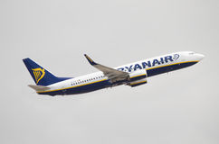 Ryanair Boing 737 taking off at Tenerife south Airport on a cloudy day Royalty Free Stock Photo