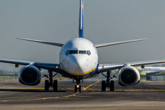 Ryanair close up of nose on the runway Stock Photo