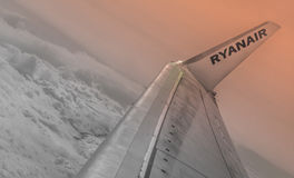 Ryanair among the clouds Royalty Free Stock Images