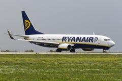 Ryanair efter en regndusch Royaltyfria Bilder