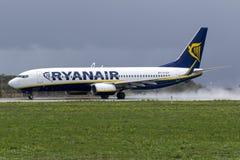 Ryanair efter en regndusch Arkivbild