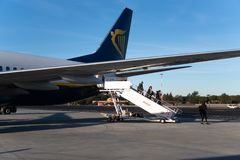 Ryanair flight. Rome, Italy - February 14, 2019: Ryanair airplane. Ryanair Ltd. is an Irish low-cost airline with its primary operational bases at Dublin and stock photography