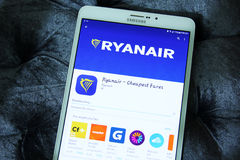 Ryanair flygbolagmobil app Royaltyfria Foton