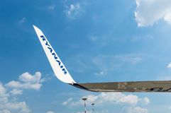 Ryanair inscription on the wing of aircraft. Royalty Free Stock Images