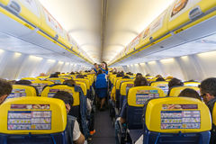 Ryanair Jet airplanes interior view. Stock Photo
