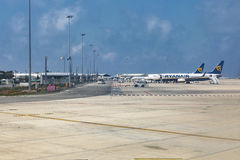 Ryanair low cost airplanes in Paphos International Airport, Cyprus. Stock Photo