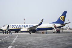 Ryanair passengers disembarking Stock Image