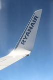 Ryanair plain wing Royalty Free Stock Photo