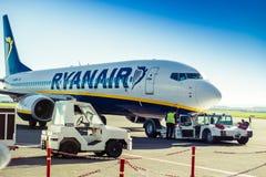 Ryanair plane in airport Royalty Free Stock Photo