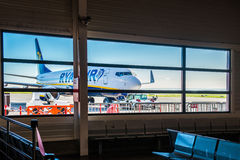 Ryanair plane in airport Royalty Free Stock Photography