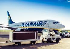 Ryanair plane in airport Royalty Free Stock Photos