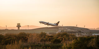 Ryanair plane departing. Photograph of a plane departing from El Prat airport, Barcelona, Spain Stock Image