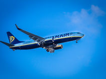 Ryanair plane landing Royalty Free Stock Photography