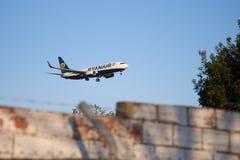 Ryanair plane landing. Photograph of a plane landing in El Prat airport, Barcelona, Spain stock photo