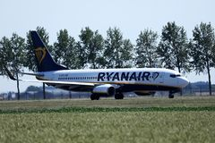 Ryanair plane taxiing in Schiphol Airport, AMS royalty free stock photo
